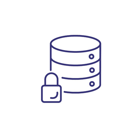 Data base on lock line icon. Database discs with lock sign on white background. Security concept. Vector illustration can be used for topics like protection, virus, computer antivirus