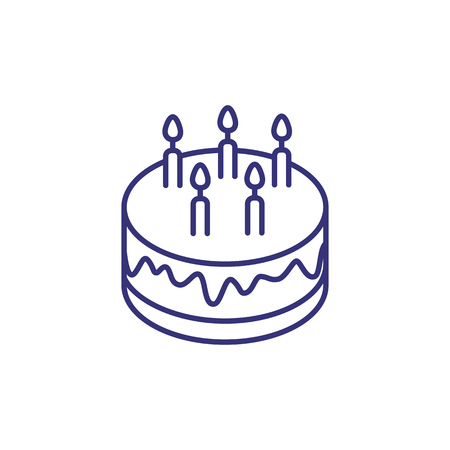 Round cake line icon. Birthday pie with candles on white background. Celebration concept. Vector illustration can be used for topics like greeting, birthday party, festival