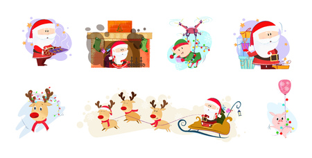 Bright illustration with Santa and company. Bright characters in different poses. Can be used for topics like Christmas, winter, festivals, Happy New Year Ilustração