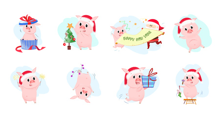 Colorful set illustration with piglets. Funny cartoon piglets in different poses. Can be used for topics like Christmas, winter, festivals, Happy New Year Illustration