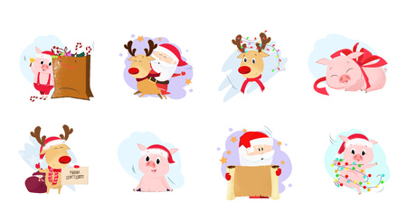Set illustration with cartoon deer and piglets. Bright deer, Santa and piglets in different poses. Christmas, winter, festivals, Happy New Year