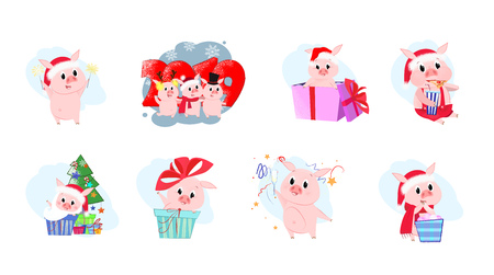 Set illustration with piglet company. Cartoon pigs in different poses. Can be used for topics like Christmas, winter, festivals, Happy New Year