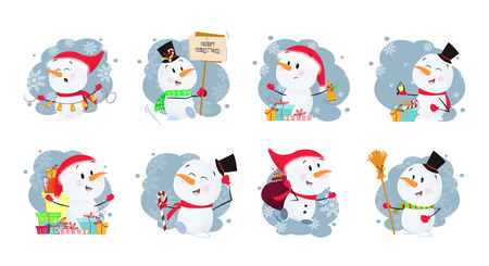 Set illustration of snowmen. Funny snowmen in different poses. Can be used for topics like Christmas, winter, festivals, Happy New Year Vettoriali
