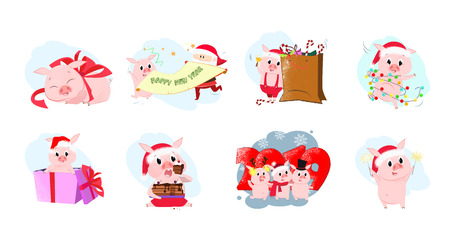 Piglets set illustration. Piglets  in different poses. Can be used for topics like Christmas, winter, festivals, Happy New Year