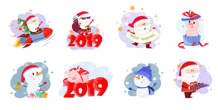 Santa and piglets with dates set illustration. Santa Claus, snowmen and piglets with dates in different poses. Can be used for topics like Christmas, winter, festivals, Happy New Year Illustration