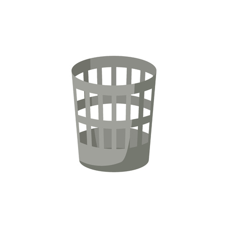 Trash basket illustration. Can, container, dustbin. Cleaning concept. Can be used for topics like office, paper, garbage Illustration