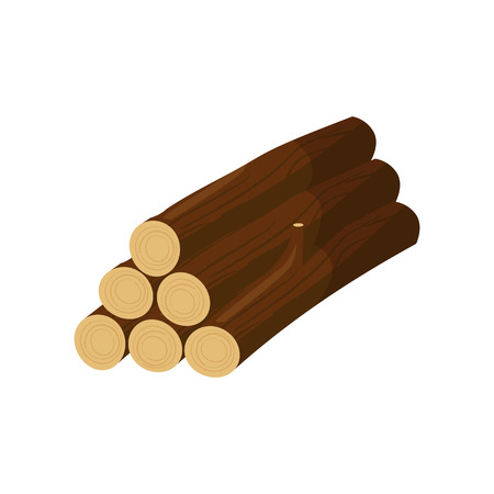 Stack of logs illustration. Tree trunk, woods, lumber harvest. Wood concept. Can be used for topics like forestry, wooden industry, sawmill Ilustração