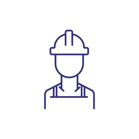Builder line icon. Construction worker, hardhat. Construction concept. Can be used for topics like blue collar, occupation, industry  イラスト・ベクター素材