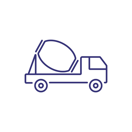 Concrete mixer line icon. Truck, vehicle, container. Construction concept. Can be used for topics like site, equipment, building
