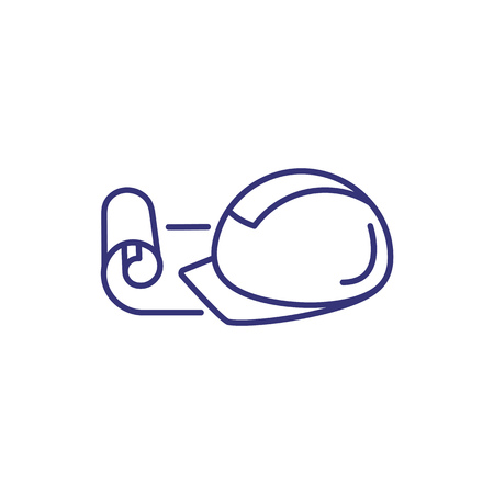 Construction helmet line icon. Hardhat, helm, cap. Construction concept. Can be used for topics like safety, protection, job