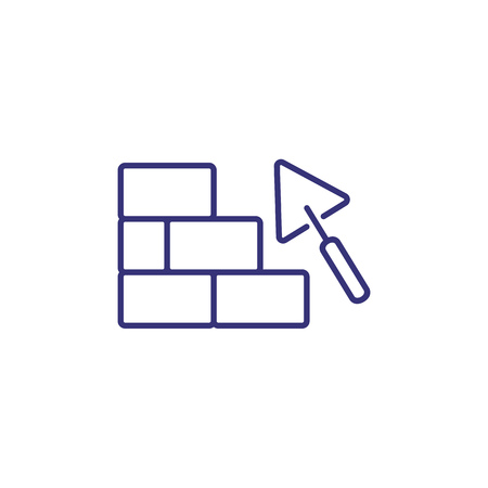 Trowel line icon. Tool, brick wall, site. Construction concept. Can be used for topics like builder, contractor, occupation