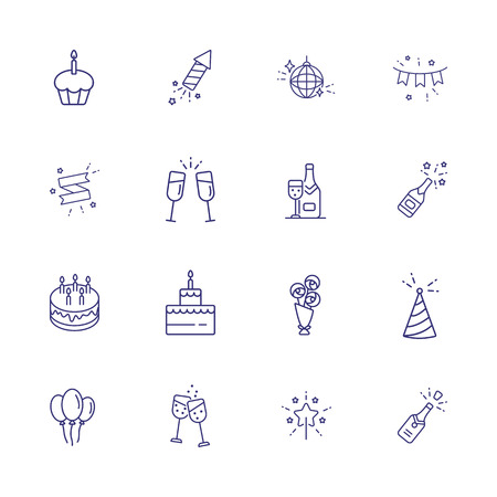 Holiday line icon set. Cake, cracker, champagne. Celebration concept. Can be used for topics like birthday party, new year, special day