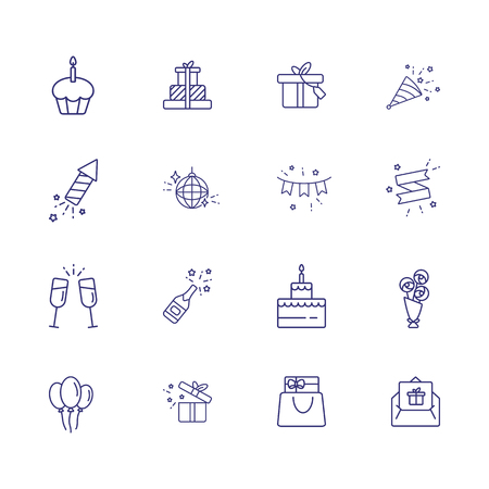 Wedding day line icon set. Gifts, cake, couple of flutes. Celebration concept. Can be used for topics like party, holiday, decoration, special day  イラスト・ベクター素材