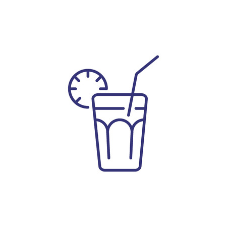 Long island line icon. Glass, lime, lemon, straw. Cocktail concept. Can be used for topics like alcoholic drinks, bar, restaurant menu Ilustración de vector