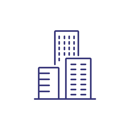 Office center line icon. Skyscraper, city, building. Construction concept. Can be used for topics like real estate, business, property Ilustração