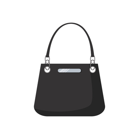 Black leather hand bag illustration. Shopping, accessory, bag. Fashion concept. Vector illustration can be used for topics like clothing, fashion, advertisement, shopping