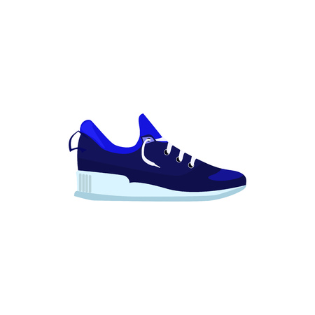 Blue sneaker shoe illustration. Sporting shoe, running, fitness. Fashion concept. Vector illustration can be used for topics like clothing, fashion, advertisement, shopping Vectores