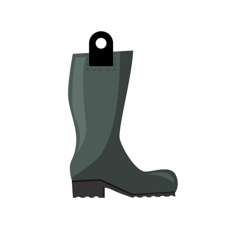 Gumboot illustration. Shoe, galoshes, rainy weather. Fashion concept. Vector illustration can be used for topics like clothing, fashion, advertisement, shopping