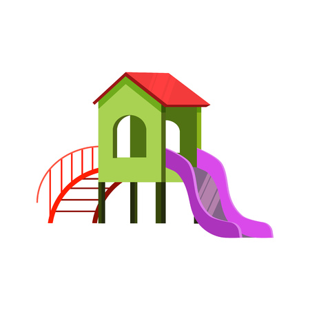 Kids slide illustration. Bright, house, slide, playing. Childhood concept. Vector illustration can be used for topics like kids garden, playground, playing