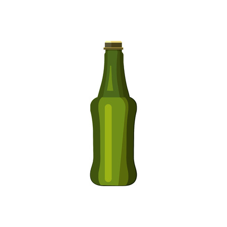 Small dark green bottle illustration. Beer, drinking, soda, alcohol. Drinking concept. Vector illustration can be used for topics like beverage, bar, super market