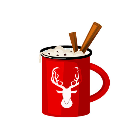 Red winter mug illustration.  Cup, cinnamon, hot. Christmas concept. Vector illustration can be used for topics like cafe, cooking, drinking