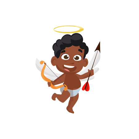 Cute dancing afro cupid illustration. Kid, love, romantic. Saint Valentines Day concept. Vector illustration can be used for topics like romantic, love, celebration, greeting card Çizim
