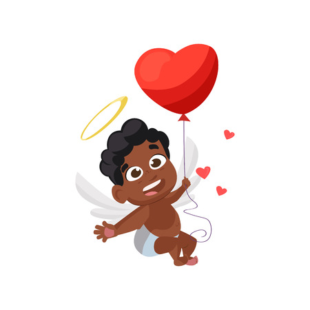 Afro cupid with red balloon illustration. Kid, love, romantic, angel. Saint Valentines Day concept. Vector illustration can be used for topics like romantic, love, celebration, greeting card Çizim