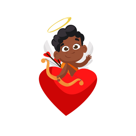 Afro cupid sitting in red heart illustration. Kid, love, romantic, angel. Saint Valentines Day concept. Vector illustration can be used for topics like romantic, love, celebration, greeting card