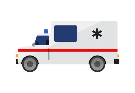 Ambulance car illustration. Auto, service, medicine. Transport concept. Vector illustration can be used for topics like social, service, hospital