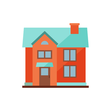 Red cottage with blue roof illustration. Home, design, architecture. Building concept. Vector illustration can be used for topics like real estate, advertisement, house Illustration