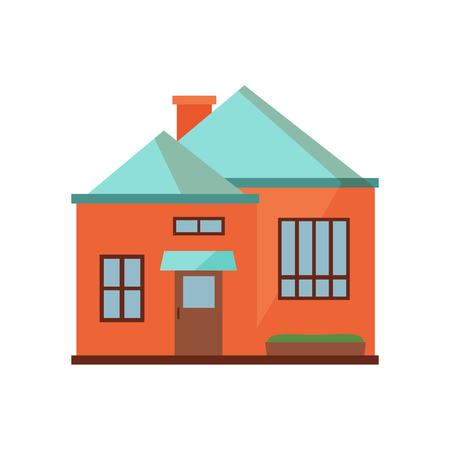 Red townhouse with blue roof illustration. Home, design, architecture. Building concept. Vector illustration can be used for topics like real estate, advertisement, house