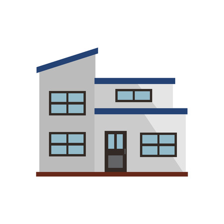 White townhouse with blue roof illustration. Home, design, architecture. Building concept. Vector illustration can be used for topics like real estate, advertisement, house Stock Vector - 115135689