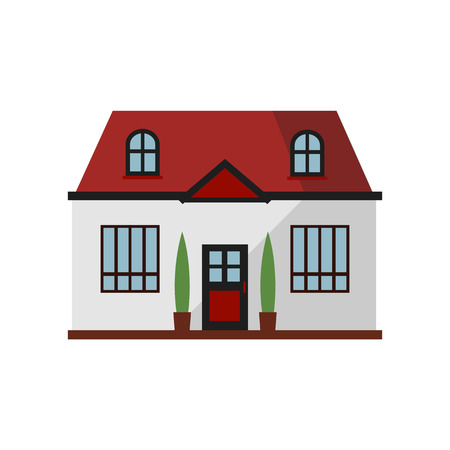 White townhouse with red roof illustration. Home, design, architecture. Building concept. Vector illustration can be used for topics like real estate, advertisement, house