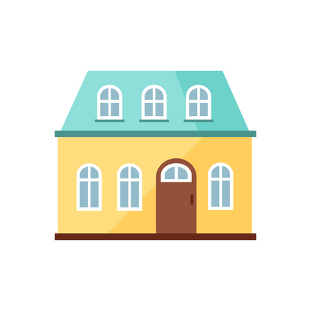 Yellow cottage with blue roof illustration. Home, design, architecture. Building concept. Vector illustration can be used for topics like real estate, advertisement, house