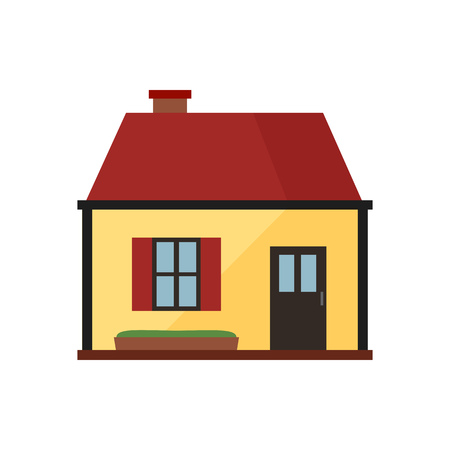Yellow cottage with brown roof illustration. Home, design, architecture. Building concept.Vector illustration can be used for topics like real estate, advertisement, house