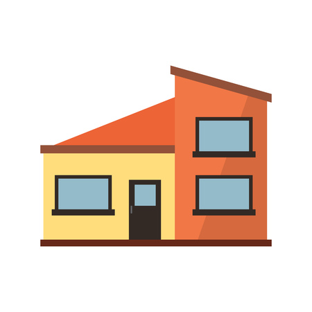 Orange and yellow townhouse illustration. Home, design, architecture. Building concept. Vector illustration can be used for topics like real estate, advertisement, house Illustration