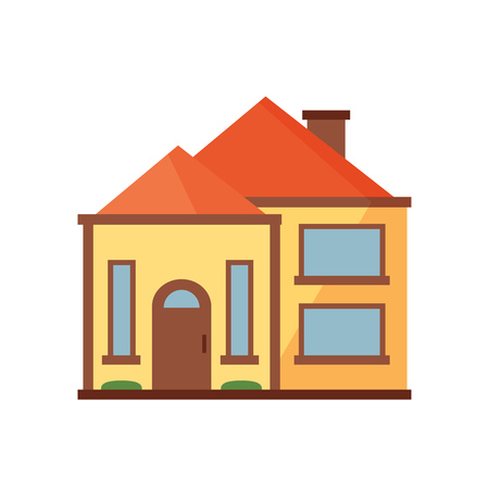 Yellow cottage with orange roof illustration. Home, design, architecture. Building concept. Vector illustration can be used for topics like real estate, advertisement, house Stock Vector - 115135697
