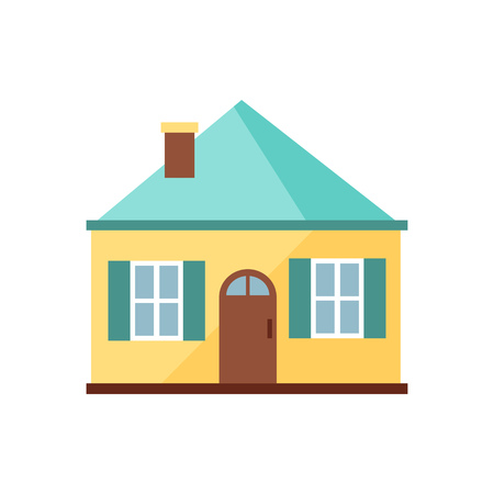 Yellow house with blue roof illustration. Home, design, architecture. Building concept. Vector illustration can be used for topics like real estate, advertisement, house