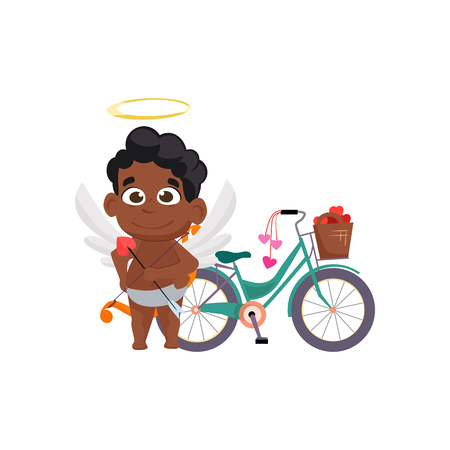 Afro cupid with romantic bicycle illustration. Romantic, vehicle, angel. Saint Valentines Day concept. Vector illustration can be used for topics like romantic, love, celebration, greeting card Çizim
