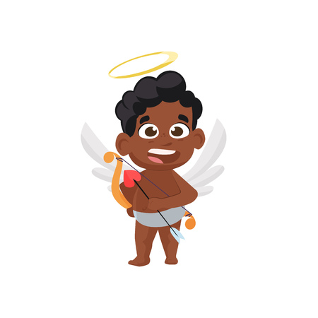 Cute afro angel illustration. Kid, love, romantic, angel. Saint Valentines Day concept. Vector illustration can be used for topics like romantic, love, celebration, greeting card