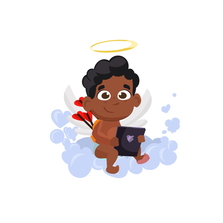 Afro cupid with love book illustration. Kid, love, romantic, angel. Saint Valentines Day concept. Vector illustration can be used for topics like romantic, love, celebration, greeting card