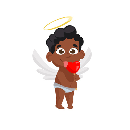 Afro cupid eating heart lollipop illustration. Sweet, candy, angel. Saint Valentines Day concept. Vector illustration can be used for topics like romantic, love, celebration, greeting card  イラスト・ベクター素材