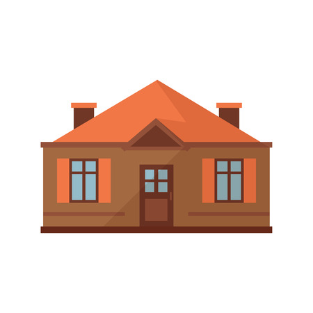 Small brown house with orange roof illustration. Home, design, architecture. Building concept. Vector illustration can be used for topics like real estate, advertisement, house Illustration