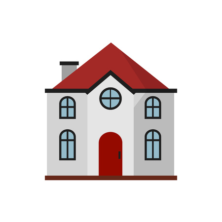 White cottage with red roof illustration. Home, design, architecture. Building concept. Vector illustration can be used for topics like real estate, advertisement, house Illustration