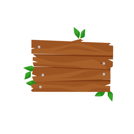 Rough wooden sign with green leaves illustration. Signage, forest, copy space. Advertising concept. Can be used for topics like nature, camping, hiking