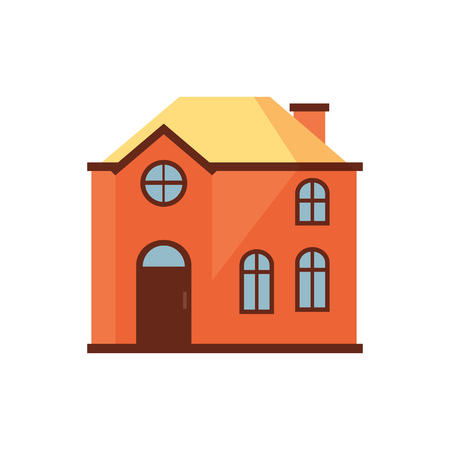 Orange house with yellow roof illustration. Home, design, architecture. Building concept.  Vector illustration can be used for topics like real estate, advertisement, house Stock Vector - 115135878