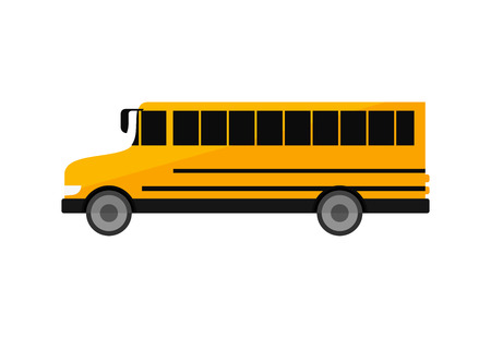 Yellow school bus illustration. Auto, large, daily. Transport concept. Vector illustration can be used for topics like school, service, transportation, schedule Vettoriali