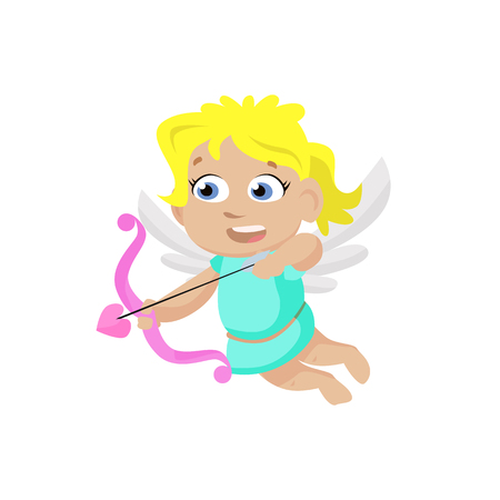 Cartoon angel girl doing archery. Wings, aim, arrow, bow. Valentines day concept. Can be used for topics like love, romance, dating