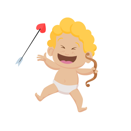 Cheerful cartoon cupid with bow and arrow laughing. Cute character, toddler, fun, joy. Valentines day concept. Can be used for topics like love, romance, dating