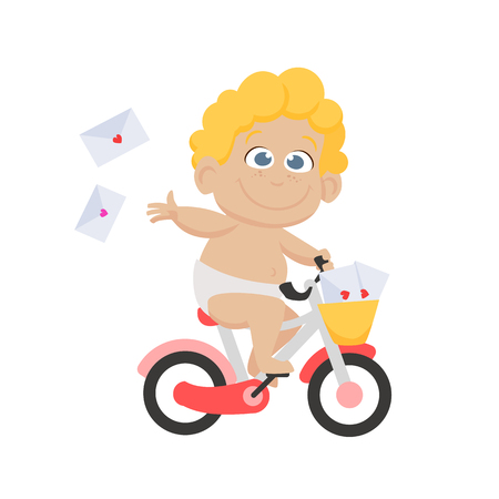 Cute little cupid delivering Valentines cards by bike. Riding bicycle, cherub, fun, joy. Valentines day concept. Can be used for topics like love, romance, dating
